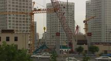 Beijing China Massive Development Many Cranes Pull Wide Reveal