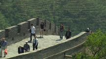 Beijing China Chinese Tourists Great Wall Pull To Wide Shot