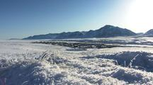 Zoom In Across Frozen Tundra To Alaska Arctic Bush Community Anaktuvuk Pass