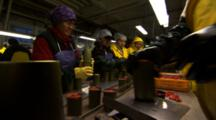 Workers Weigh Canned Salmon At A Fish Processing Plant