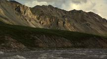 Medium Lock Shot Hulahula River Flows Through Frame In Arctic National Wildlife Refuge