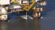 Cineflex Aerial Cook Inlet Oil Platform In Strong Tidal Current Pumping Unknown Water Over Board Exnice