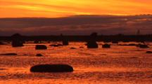 Rocks Silhouetted At Sunset, Solovetsky Island