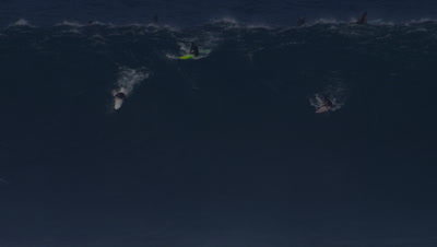 Jaws - big wave surfing- big wave breaking- surfers paddling