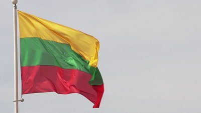 Lithuanian Flag Waving in the Wind, Slow Motion