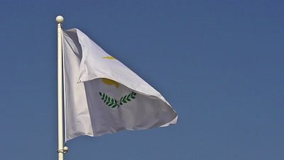 Cypriot Flag Waving in the Wind, Slow Motion