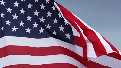 American Flag Waving in the Wind, Slow Motion