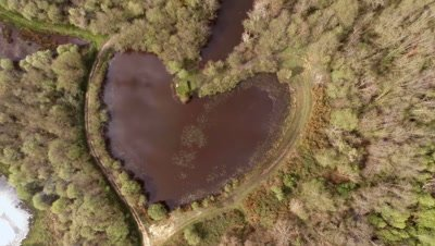 Flying over a heart-shaped lake