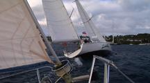 Close Focus Wide Angle Shot Of Close Race Sailing.