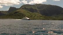 Yacht Travels Near Island