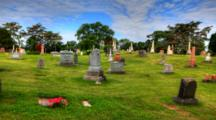 4k Ultrahd Timelapse View In A Cemetery With Blue Skies