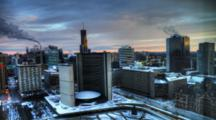 4k Ultrahd A Timelapse Aerial View Of Toronto City Hall, Canada