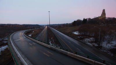 4K UltraHD A Timelapse of a busy expressway at as day becomes night