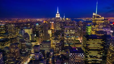 4K UltraHD Night to day aerial timelapse of Manhattan