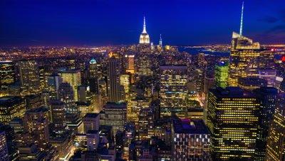 4K UltraHD Night to day aerial timelapse of Manhattan