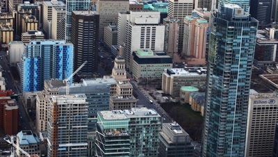 4K UltraHD A timelapse aerial view of Toronto, Canada buildings