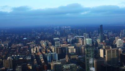 4K UltraHD Timelapse aerial view of Toronto's city center