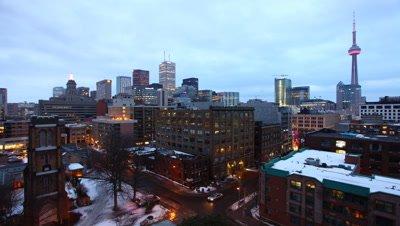 4K UltraHD Timelapse view of the Toronto skyline as night falls