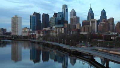 4K UltraHd The Philadelphia City center, a day to night timelapse