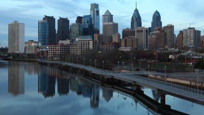 4K UltraHd A day to night timelapse of the Philadelphia City center