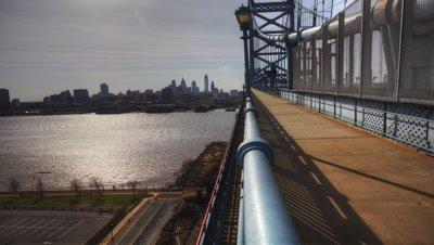 4K UltraHd Philadelphia a timelapse from the Franklin Bridge at dusk