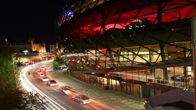 4K UltraHD A night timelapse by the interesting Shaw center in Ottawa, Canada