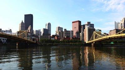 4K UltraHD Timelapse Pittsburgh skyline between two bridges