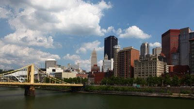 4K UltraHD Timelapse Pittsburgh skyline on a fine day
