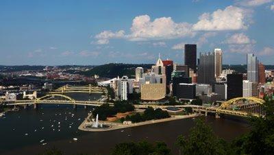 4K UltraHD Timelapse looking down at Pittsburgh skyline