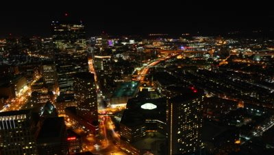 4K UltraHD Timelapse view of the Boston Skyline at night
