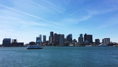 4K UltraHD View of Boston city center with harbor