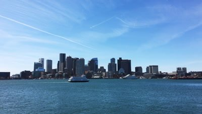 4K UltraHD View of Boston skyline and harbor