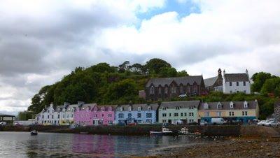 4K UltraHD Timelapse of colorful buildings in Portree, Skye, Scotland