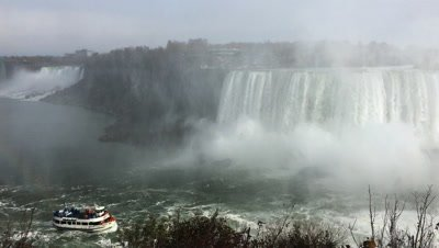 4K UltraHD The Horseshoe Falls and tourist boat