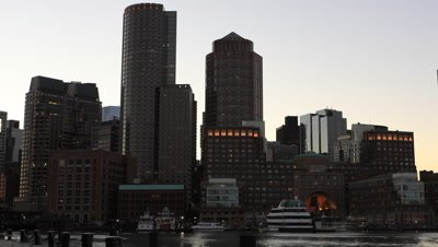 4K UltraHD Timelapse at dusk of the Boston city center