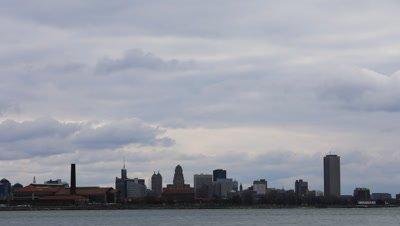 4K UltraHD Timelapse of the Buffalo skyline across the Niagara River