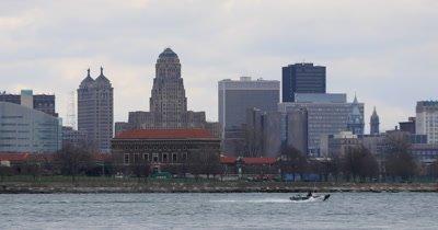 4K UltraHD Buffalo skyline across the Niagara River
