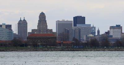 4K UltraHD Winter birds on Niagara River with Buffalo in background
