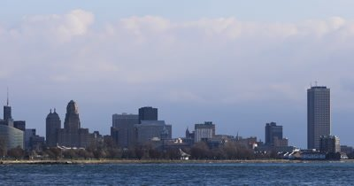 4K UltraHD Buffalo, New York skyline across the Niagara River