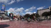 Hand Held Shot On A Busy Street In Barcelona Spain, The Alain Afflelou‎ Plaza CataluñA, With Pigeons