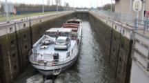 A Cargo Ship Enters A Dutch Lock, High Angle