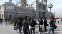The Almudena Cathedral In Madrid Spain, People Walk By