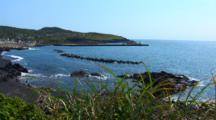 Miyake Jima, Japan - Scenic Shot Of Bay At Ako Port - Slow Pan To Left