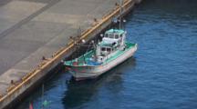 Miyake Jima, Japan - Japanese Fishing Boat Docked In Harbor