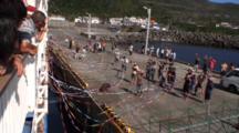 Miyake Jima, Japan - Passenger Ferry Leaving Pier, Streamers & Well-Wishers On Pier