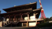 Tokyo, Japan - A Buddhist Temple In Zojo-Ji In The Shiba Neighborhood, Tokyo Tower Behind