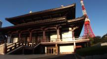Tokyo, Japan - A Buddhist Temple In Zojo-Ji In The Shiba Neighborhood, Tokyo Tower Behind
