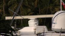 Close Up Of Spinning Radar On Top Of Sportfishing Boat