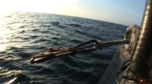 Side Scan Sonar Armored Cable Locked In Place While Towing Fish, Sunset Light