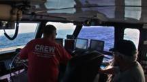 Side Scan Sonar - Bridge Crew At Helm Running Transects Lines.